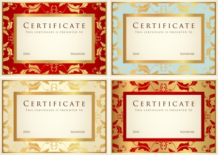 Certificate of completion  template or sample background  with flower pattern  scroll , golden vintage, frame  Design for diploma, invitation, gift voucher, ticket, awards  winner