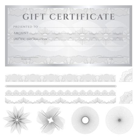 Gift certificate, Voucher, Coupon template (layout) with guilloche pattern (watermarks), border.