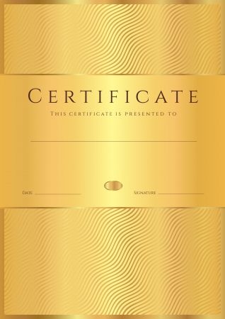 Certificate of completion  template or sample background  with golden wave lines pattern  Gold Design for diploma, invitation, gift voucher, ticket, awards  Vector