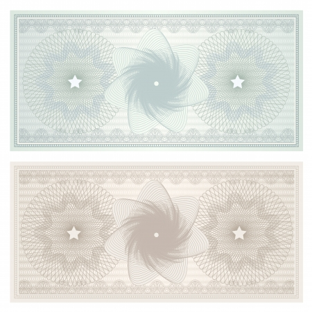 Gift certificate, Voucher, Coupon template with guilloche pattern  watermark , border  Background for banknote, money design, currency, note, check  cheque , ticket, reward  Vintage color  Vector