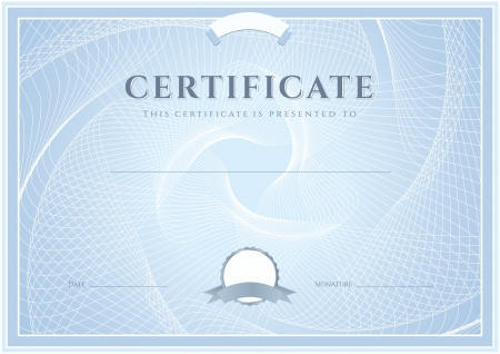 Certificate, Diploma of completion  design template, background  with guilloche pattern  watermark , border, frame  Blue Certificate of Achievement, Certificate of education, coupon, awards, winner