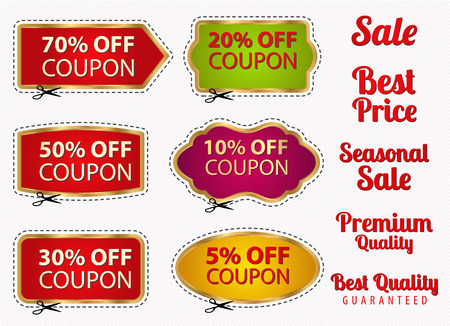 Set Sale Coupons Labels Banner Tag Template Layout With Gold Frame