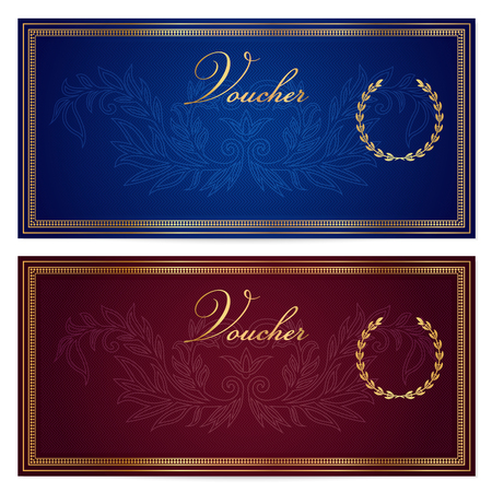 Illustration pour Voucher, Gift certificate, Coupon, Gift money bonus or Gift card template with scroll pattern border, frame. Background for reward design, invitation, ticket, banknote, currency, check cheque - image libre de droit