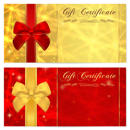 Gift certificate, Voucher, Coupon, Invitation or Gift card template with sparkling, twinkling stars texture and bow ribbon. Red, gold background design for gift banknote, check, gift money bonus