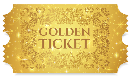 Illustration for Gold ticket, golden token (tear-off ticket, coupon) with star magical background. Useful for any festival, party, cinema, event, entertainment show - Royalty Free Image