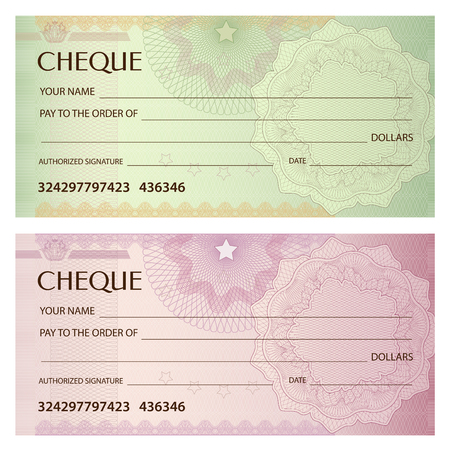 Illustration pour Check (cheque), Chequebook template. Guilloche pattern with watermark, spirograph. Background for banknote, money design, currency, bank note, Voucher, Gift certificate, Coupon, ticket - image libre de droit