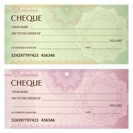 Ilustración de Check (cheque), Chequebook template. Guilloche pattern with watermark, spirograph. Background for banknote, money design, currency, bank note, Voucher, Gift certificate, Coupon, ticket - Imagen libre de derechos