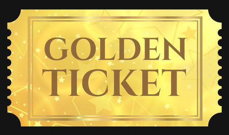 Illustration pour Gold ticket, golden token (tear-off ticket, coupon) with star magical background - image libre de droit