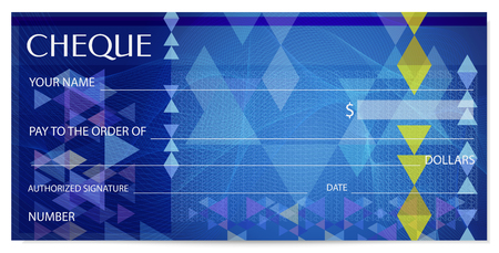 Illustration pour Check (cheque), Chequebook template. Guilloche pattern with abstract watermark, spirograph. Background for banknote, money design, currency, bank note, Voucher, Gift certificate, Coupon, ticket - image libre de droit
