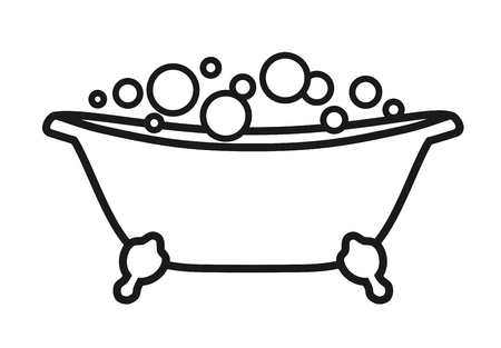 Isolated icon Bath tub with bubbles. Vector illustration on white background black and white