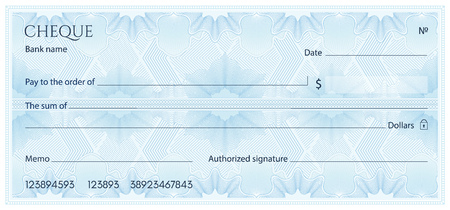 Ilustración de Check, Cheque (Chequebook template). Guilloche pattern with abstract floral watermark, border. Blue background for banknote, money design, currency, bank note, Voucher, Gift certificate, Money coupon - Imagen libre de derechos