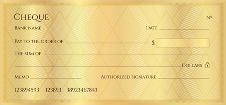 Illustration pour Cheque, Check, Chequebook template. Guilloche pattern with abstract geometric watermark. Golden background for banknote, money design, currency, bank note, Voucher, Gift certificate, Money coupon - image libre de droit