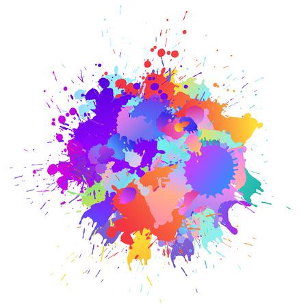 Photo pour Colorful banner background with art paint drops, spots. Grunge layout of rainbow blotch (different colors silhouette of splotches). Vector multicolored artwork layout - image libre de droit