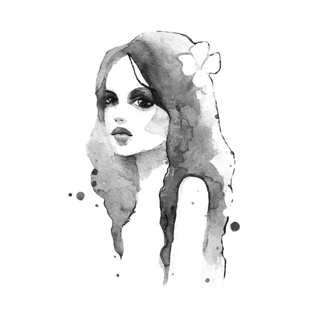 Romantic girl. Watercolor painting. Black and white. Vector