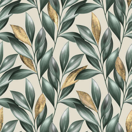 Photo pour Green and gold leaves seamless pattern. Summer floral background - image libre de droit