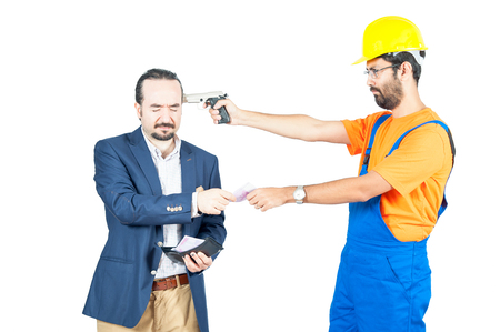 Photo for blue collar laborer threating businessman for getting his euro money for services isolated on white background - Royalty Free Image