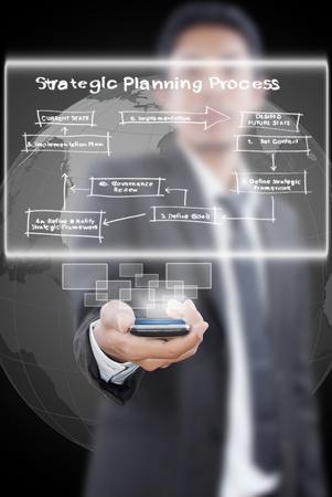 Businessman pushing business strategic planning on the whiteboard