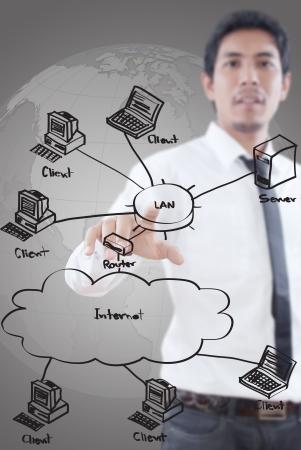 Photo pour Businessman pushing LAN diagram on the whiteboard  - image libre de droit