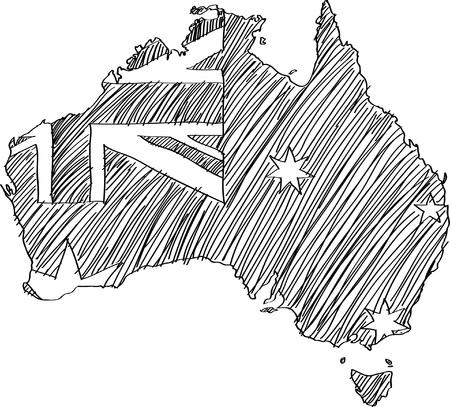 Vektor für Australia Flag Map Vector Sketch Up. - Lizenzfreies Bild