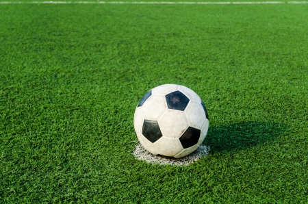 Soccer Football on Penalty spot for Penalty Kick.