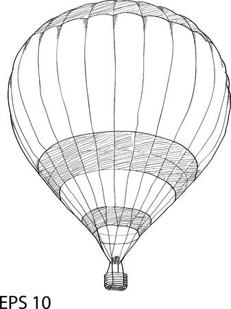Hot Air Balloon Vector Sketch Up line
