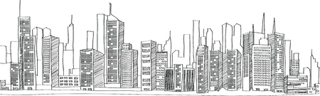 Illustration pour Cityscape Vector Illustration Line Sketched Up - image libre de droit