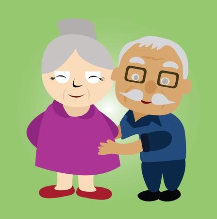 Vector - Couple older He hug his wife