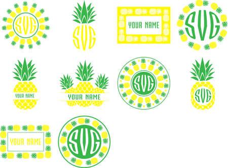 Illustration pour Monogram frames pineapple set vector - image libre de droit
