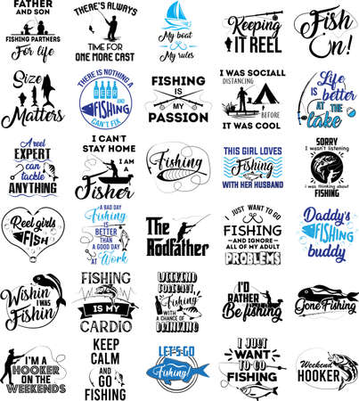 Foto per Collection of Fishing phrases, slogans or quotes - Immagine Royalty Free