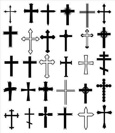 Illustration pour Set of different crosses. Religion cross icon set, design - image libre de droit