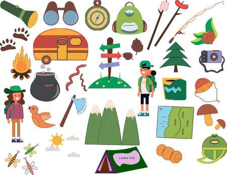 Illustration pour Set of camping of adventure. Equipment icon set in vector. - image libre de droit