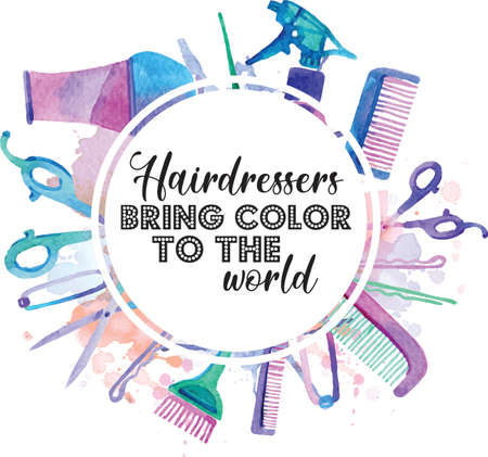 Illustration for Hairdresser Bring Color To The World quote on white background. Vector illustration. - Royalty Free Image