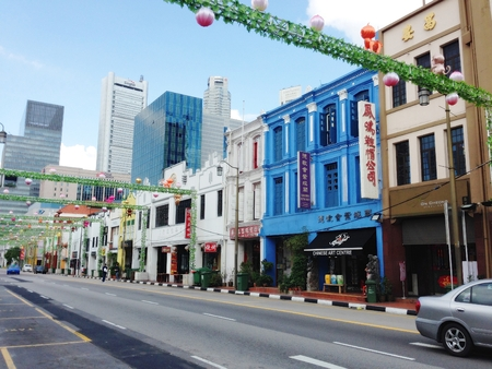 Singapore - Aug 9, 2015. The facade of colorful buildings in Chinatown, Singapore. As the largest ethnic group in Singapore is Chinese, Chinatown is considerably less of an enclave than it once was.