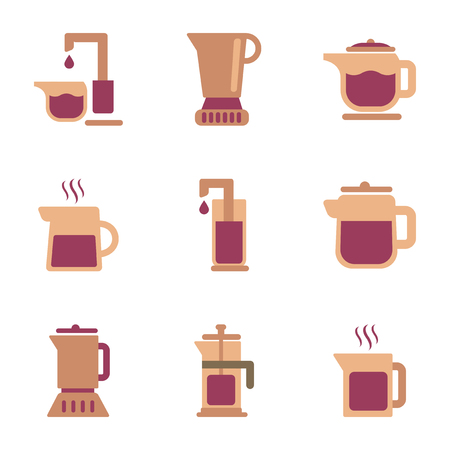 assembly flat icons coffee machine maker