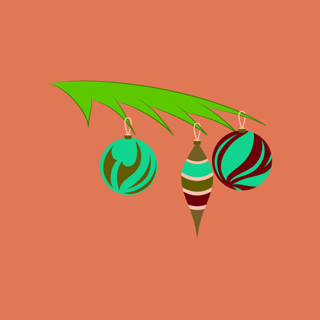 flat illustration on background of Christmas tree toys