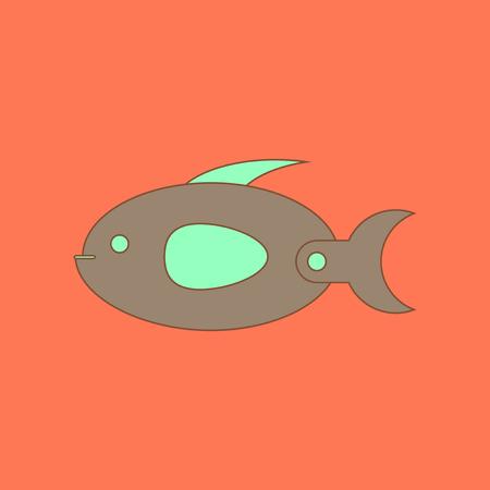 flat icon on background Kids toy fish
