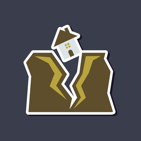 Illustration for paper sticker on stylish background of house earthquake - Royalty Free Image