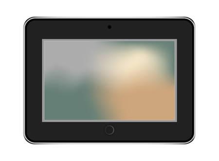 Illustration pour tablet in style black color with trending backgrounds - image libre de droit