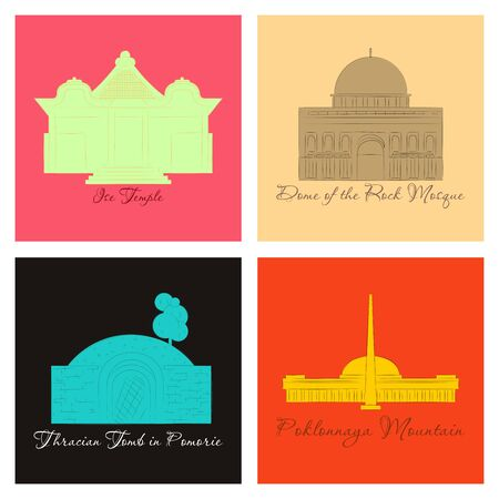 Ilustración de famous place and monument around the world. - Imagen libre de derechos