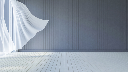 3ds rendered image of seaside room , White fabric curtains being blown by wind from the sea, dark gray wooden wall and white wooden floor
