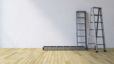 3Ds rendered image of a blank white brick wall and wooden floor