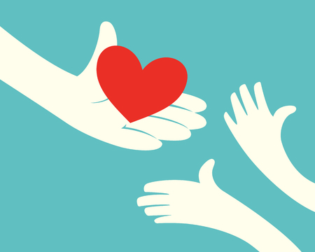 Illustration pour Close up of hand holding red heart and hands of children on green background - image libre de droit