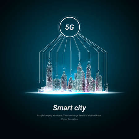 Illustration pour Smart city and telecommunication. 5G network wireless systems and internet of things with modern city skyline. Low poly wireframe mesh. Particles are connected in a geometric silhouette - image libre de droit