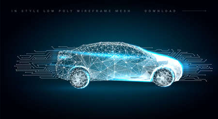 Photo pour Autonomous car vehicle with circuit board.Abstract vector of a smart or intelligent car in the form of a starry sky or space, consisting of points, lines, in the form of planets, stars and the universe - image libre de droit