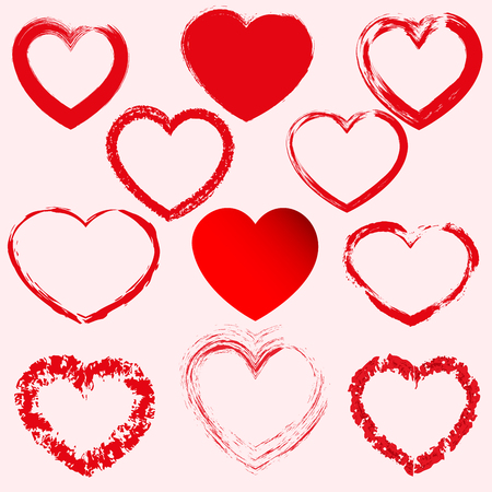 Illustration for Hand drawn hearts. Design elements for Valentine s day. - Royalty Free Image