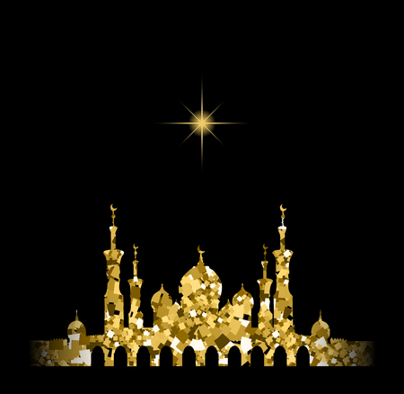 Illustration pour Glitter gold Silhouette of mosque with minarets and moon Crescent. Concept for Islamic Muslim holidays Mawlid birthday prophet Muhammad, holy month Ramadan Kareem, Eid Mubarak, Fatima bint Muhammad - image libre de droit