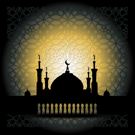 Illustration pour Silhouette of Mosque with Minarets and Arabic ornament. Concept for Islamic Muslim holiday for celebration holy month of Ramadan Kareem, Eid Mubarak, Mawlid birthday of prophet Muhammad - image libre de droit