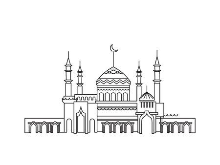 Illustration pour Mosque lineart ramadan - image libre de droit