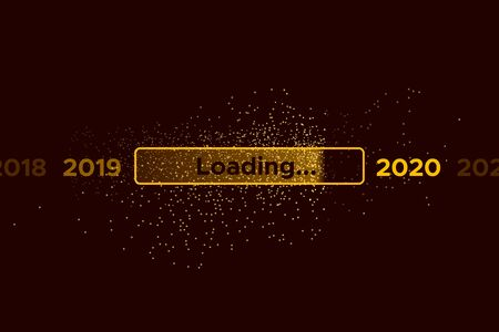 Vektor für Progress bar with golden particles on black Download New Year's Eve. Loading animation screen with Glitter confetti shows almost reaching 2020. Creative festive banner with shiny progress bar - Lizenzfreies Bild