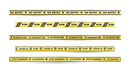 Illustration for Warning Danger quarantine tape fencing. Black and yellow quarantine stripes. - Royalty Free Image